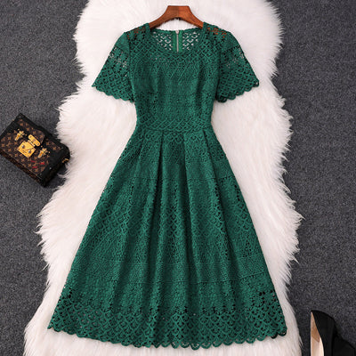 High Quality Designer Summer Dress Women 2019 New Elegant Short Sleeve Hollow Out Embroidered Green Lace Dress Party robe femme
