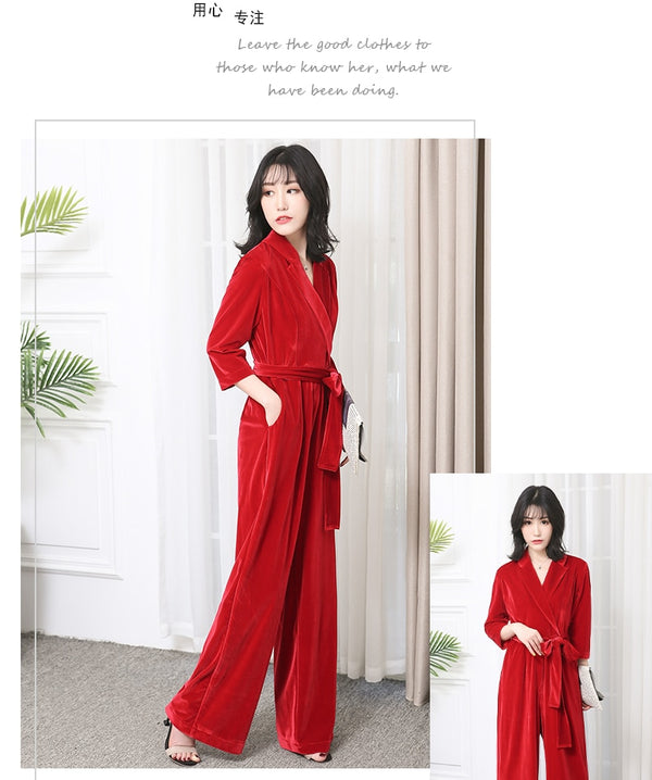 Long velvet jumpsuit with sleeves for elegant red black plus size wide leg
