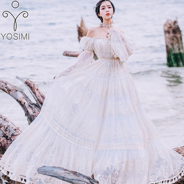 YOSIMI Summer Lace Long Women Dress Evening Party Maxi Vintage Lady White Off The Shoulder Floor-length Tassel Dress Tunic