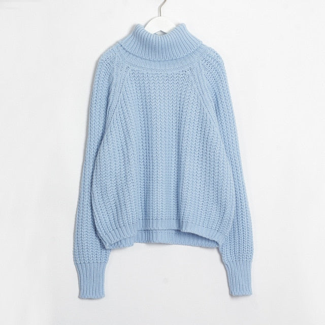 Women Turtleneck Chunky Oversized Sweater Full Sleeve Women Knit Sweaters Solid Pullover