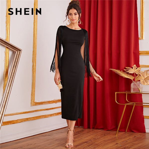 SHEIN Black Solid Fringe Detail Split Back Pencil Party Dress Women 2019 Autumn Sleeveless Elegant Ladies Bodycon Midi Dresses