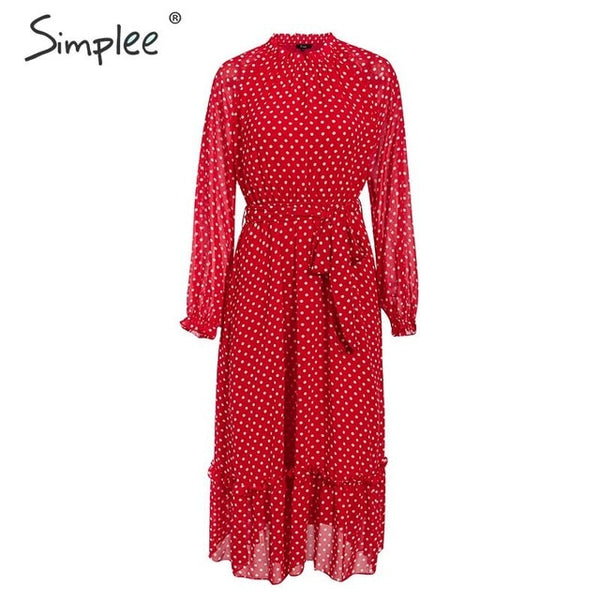 Simplee Autumn women party dress Elegant polka dot print female long party dress Holiday style ladies ruffle maxi dress vestidos