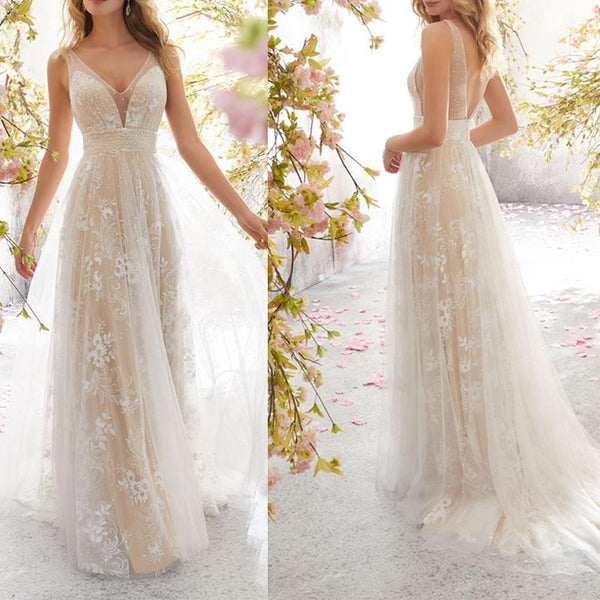 Sexy Boho Wedding long Dress 2019 Appliqued with Flowers Tulle  Sexy Backless Beach Bride Dress Wedding Gown Free Shipping