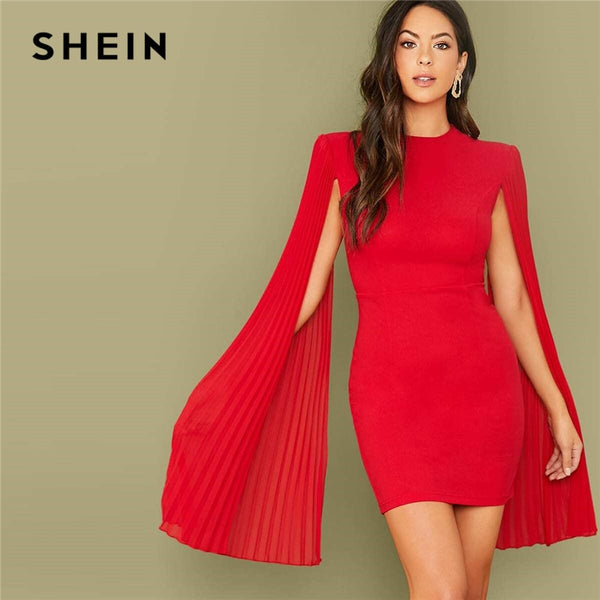 SHEIN Red Solid Pleated Cape Party Bodycon Dress Without Belt Women  Autumn High Waist Cloak Sleeve Sexy Pencil Dresses