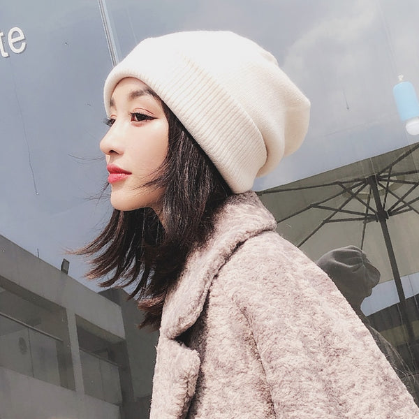 Women's Winter Cashmere Beanie Hats Knitted Solid Beige  Casual Thick Bonnet