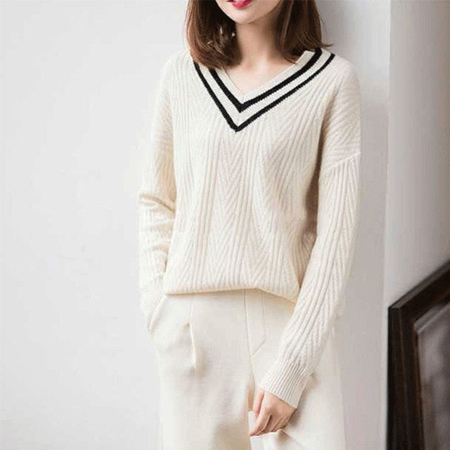 LHZSYY Autumn New Women's V-Neck Pure Cashmere Sweater Fashion Large size Knit Pullovers Winter Loose Warm Wild Female Sweater