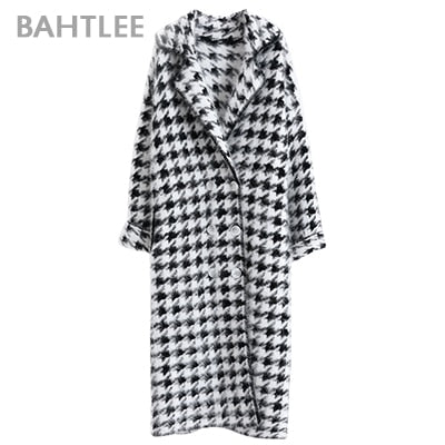 Women Angora Long Coat Houndstooth Pattern Sweater Winter Wool Knitted Cardigans Jumper
