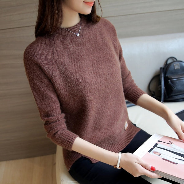 New Winter Round Neck Sweater Women Korean Long Sleeve Loose Thin Split Knitted Sweater