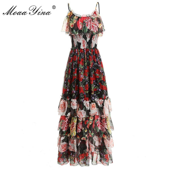 MoaaYina Fashion Designer Runway Dress Summer Women Floral-Print Spaghetti strap Elastic waist Cascading Ruffle Vacation Dresses