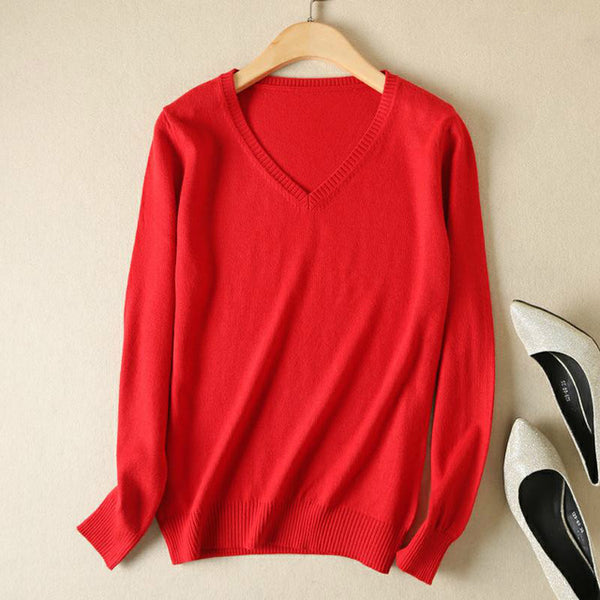 Women Sweater Knitted Female Long Sleeve V-neck Cashmere Sweater And Pullover Female
