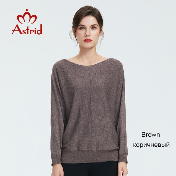 Astrid 2019 Autumn new arrival sweater women high quality autumn tops for ladies brown color popular slim womens clothing 19038