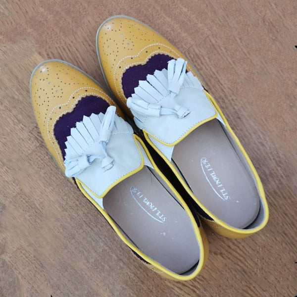 Oxford Flat spring shoes genuine leather flats vintage laces loafers casual sneakers shoes