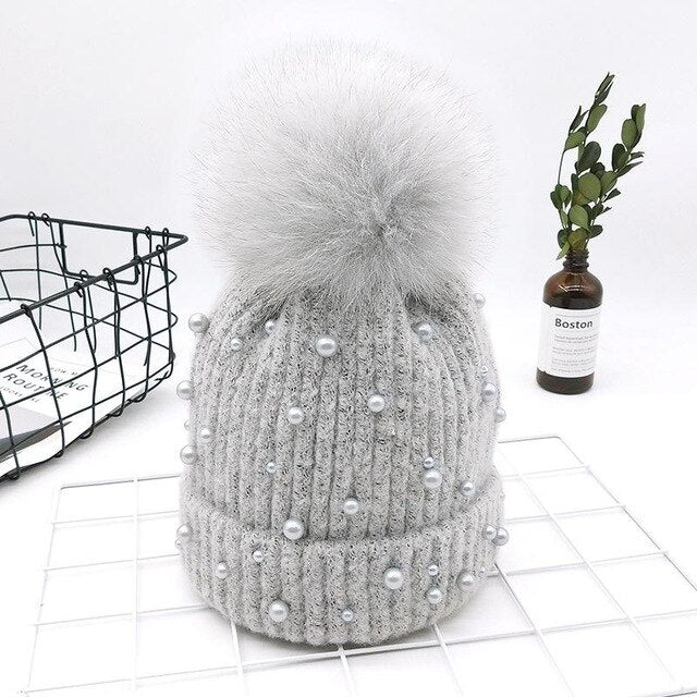 Knitted Hat With Real Fox Fur Pom Pom Hat Pearl Beads Skullies Beanies For Women