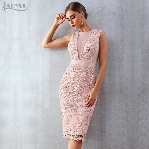 ADYCE 2019 New Summer Women Bandage Dress Vestidos Tank Sexy Lace Mesh Sleeveless Bodycon Clubwears Celebrity Runway Party Dress