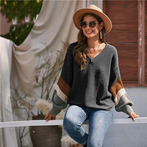 V Neck Drop Shoulder Colorblock Casual Sweater Women Tops Autumn Winter Streetwear Long Sleeve
