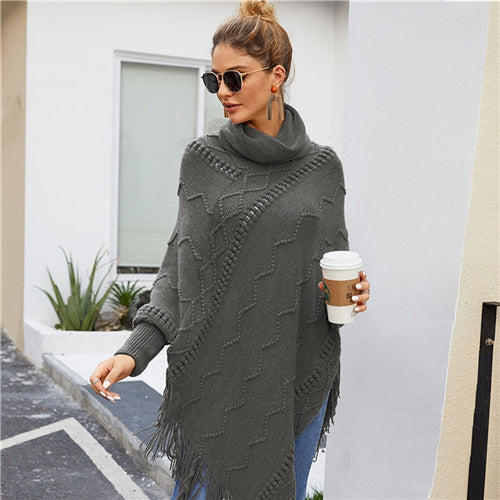 High Neck Solid Fringe Hem Casual Poncho Sweater Women Tops Autumn Winter Streetwear Long Sleeve