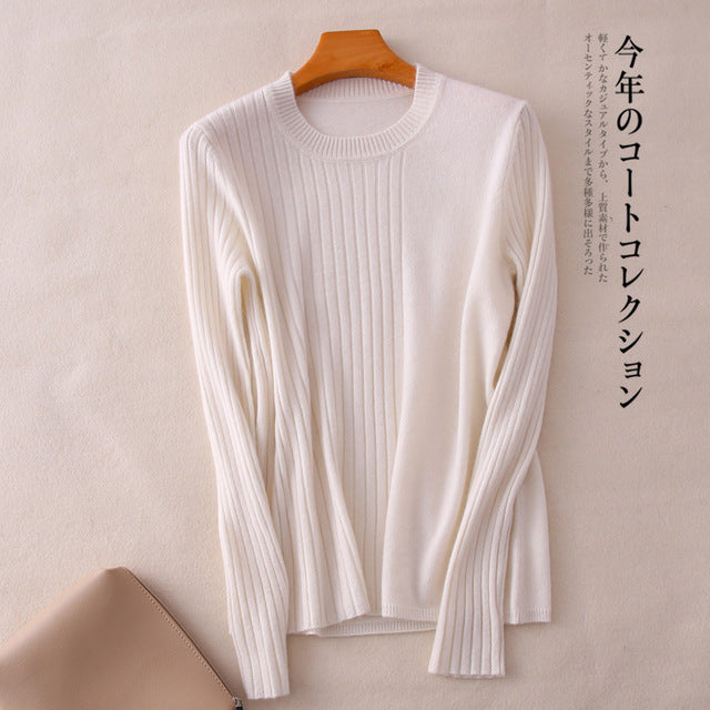 Smpevrg women sweater 100% wool knitted sweater women pullover long sleeve O-neck female pullover soft fit pull femme jumper top