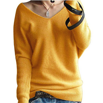 Spring autumn cashmere sweaters women fashion sexy v-neck sweater loose 100% wool sweater