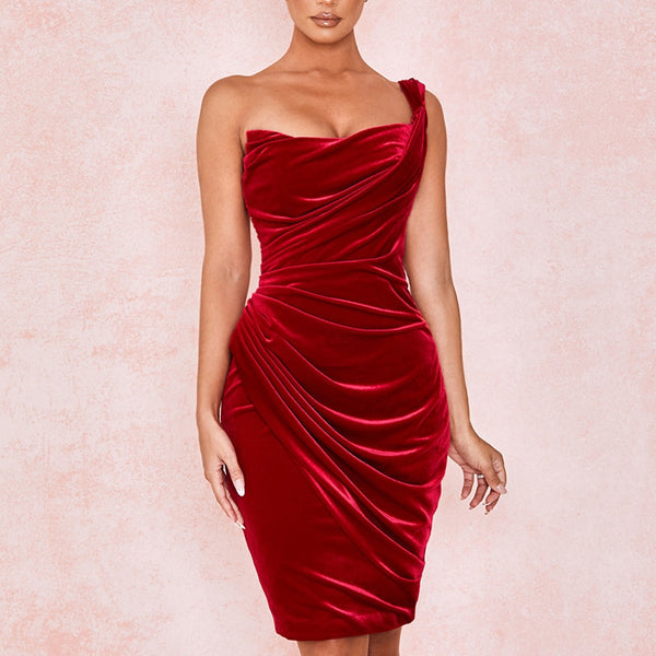 Adyce New Summer Wine Red One Shoulder Celebrity Evening Party Dress Women Sexy Sleeveless Strapless Bodycon Club Dress Vestidos
