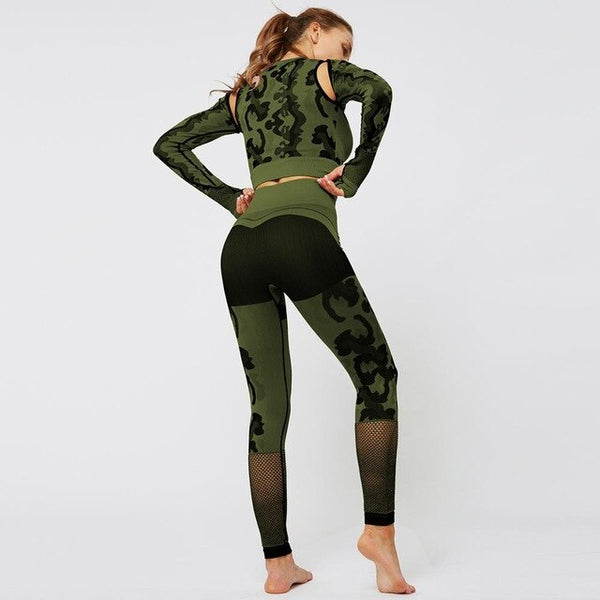 Yoga Suit 2 piece Sports camouflage Shirts Crop Top Seamless Leggings Sport Set Gym Clothes
