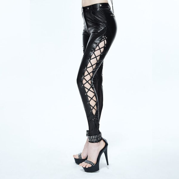 Steampunk PU Leather Pants Women Gothic Clothing Skinny Fit Bandage Tight