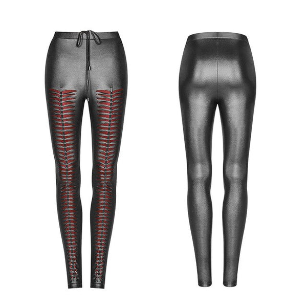 PUNK RAVE Women Gothic Hole Sexy Leggings Steampunk Stretchy Slim Fit