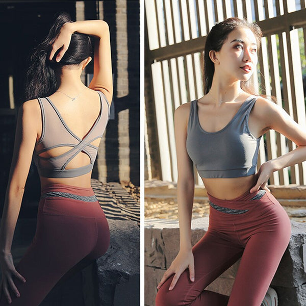 High Waist Yoga Pants Fitness Leggings Push Up Tops 2 Piece Clothing Set Sports Wear For Women