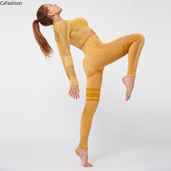 Cx Fashion Cross-border suit sports high waist fitness women tight leggings wear for women gym