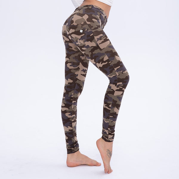 Melody Mid/High Rise Ankle Camouflage Leggings Women High Waisted Sexy Camo Push Up Leggings