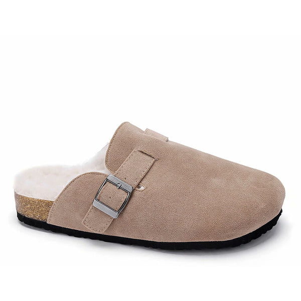 Maxmuxun Women Cozy Fur lined Slippers Buckle Faux Suede Memory Foam Slip on Indoor Comfort Slides