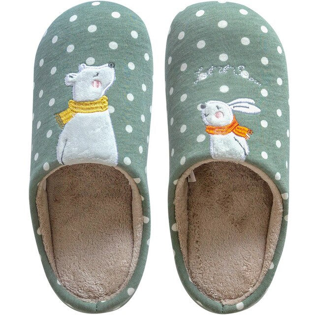 Indoor Warm Ladies Slippers Nonslip Memory Foam Cotton Winter House Slippers