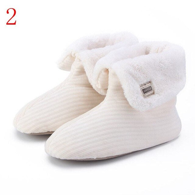 Winter Fluffy Faux Fur Slippers Women Soft Cozy Memory Foam Midcalf Indoor Slippers