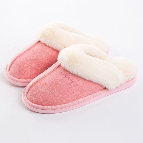 Fur Slippers for Women Home shoes Indoor ladies slippers  Warm Suede Memory foam house slipper