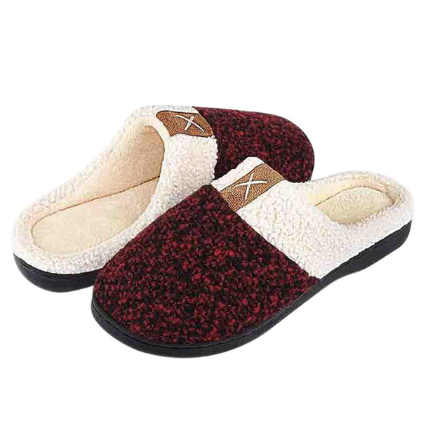 Women Men Memory Foam Slippers Plush Lined Anti-Skid Rubber Sole House Shoes TH36