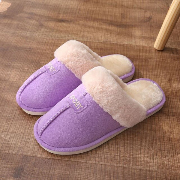 Women House Slippers Winter Warm Plush Coral Fleece Memory Foam Slippers Indoor