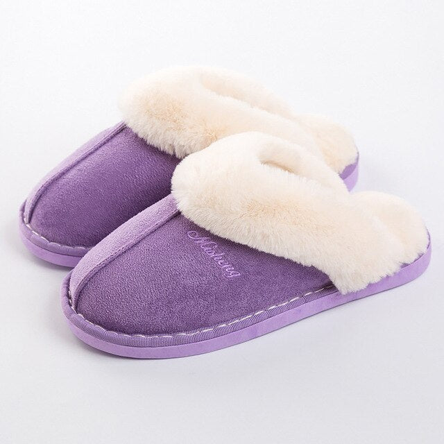 Winter Slippers Women Plus Size Suede Cozy Home Slippers Warm Fur Slippers For Women Memory foam