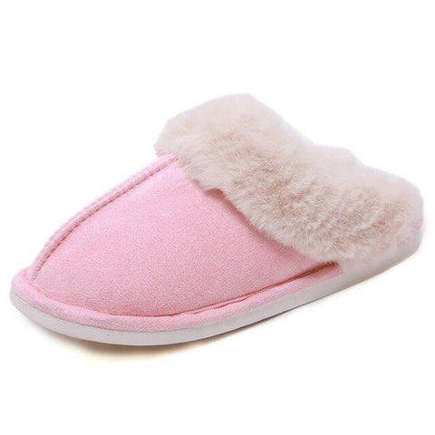 Winter Faux Fur Women Slippers Indoor Solid Warm Women Memory Foam Home Slippers