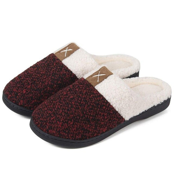 Indoor Warm Women Slippers Cute Winter Fur Nonslip Memory Foam Cotton Fabric House Slippers