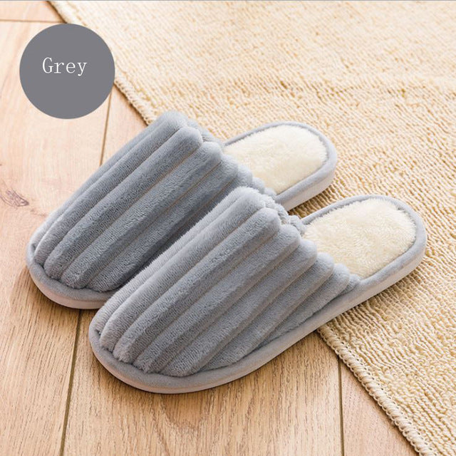Women House Slippers Bowknot  Winter Warm Corduroy Fur Nonslip Memory Foam Cotton Indoor Slippers