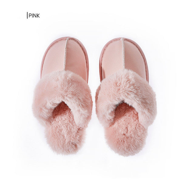 Women Fur Slippers Winter Warm Suede Plush House Slippers Indoor Outdoor Memory Foam Slippers