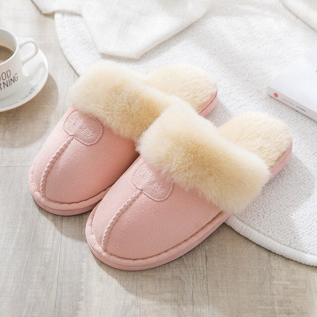 Women House Slippers Plush Winter Warm Coral Fleece Memory Foam Slippers