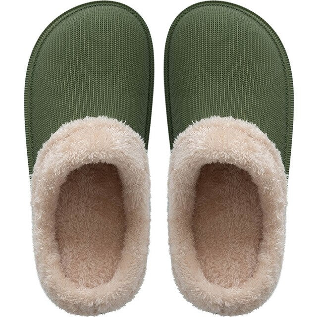 Women Fur Slippers Winter Warm Suede  Slippers Indoor Outdoor Cotton Memory Foam