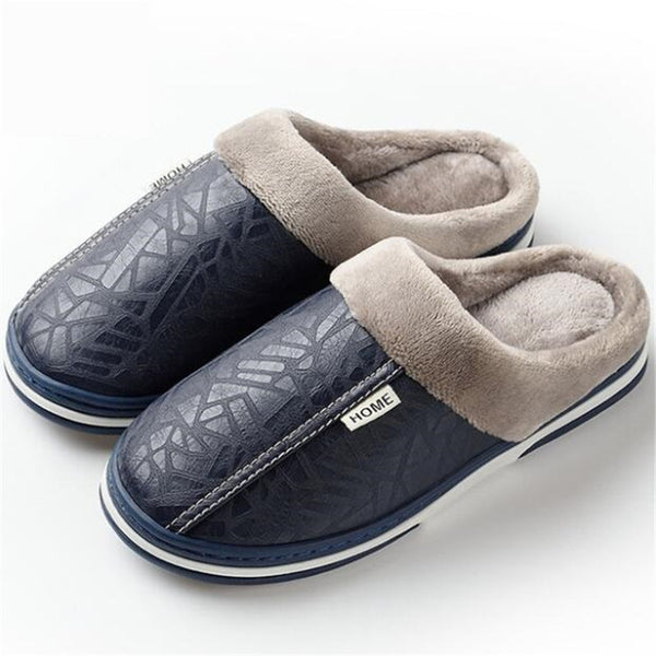 Women Winter Slippers Non Slip Indoor For Slipper Big Size 49 Leather House Warm Memory Foam