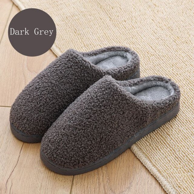Women House Slippers Winter Warm Fur Short Plush Nonslip Memory Foam Indoor Slippers