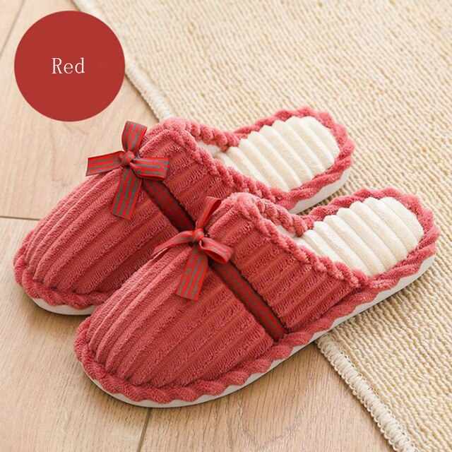Indoor Warm Women Slippers Bowknot  Winter Corduroy  Nonslip Memory Foam Cotton Slippers