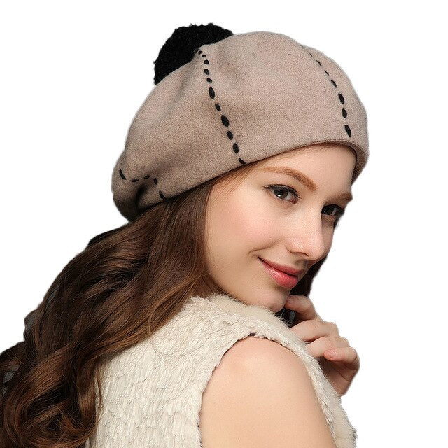 Fashion Women Knitted Berets Hats Casual Solid Color Wool Warm Winter Bonnet
