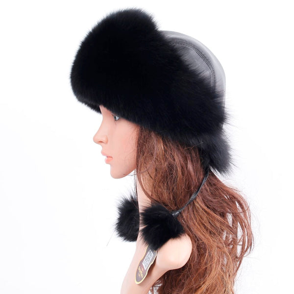 Warm Bomber Hats Men Quality Russian Snow Hat With Earflaps Retro Real Fur Bonnet
