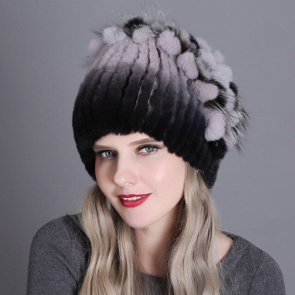 Lady Rex rabbit hair Hat Fall Winter warm Knitted Hat Women's  Thick Baggy Bonnet