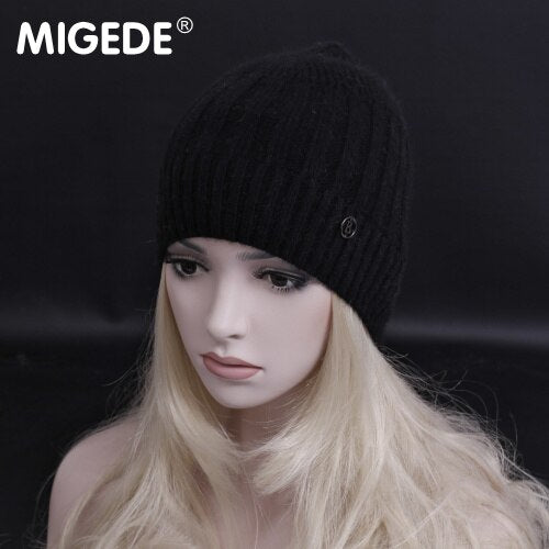 Newest Winter Fashion Brand wool knitted hats Elegant lady Winter Skullies  Beanie