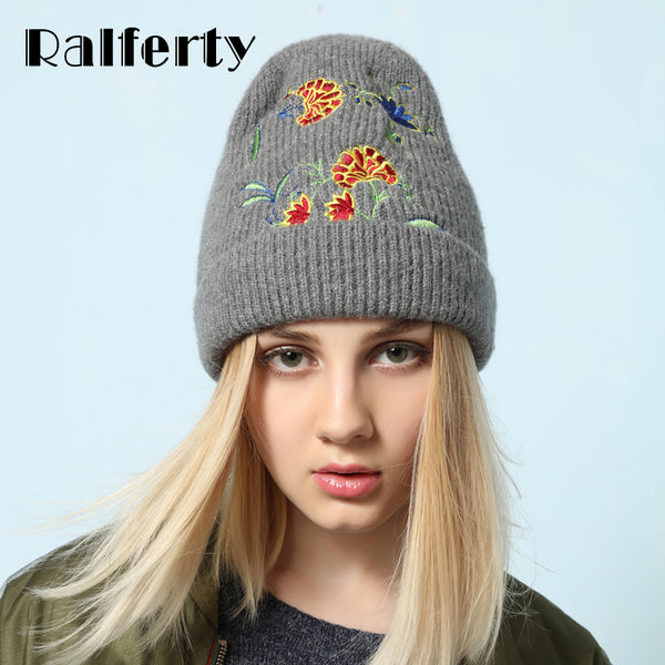 Stylish Women Winter Hat Cap Knitted Hats For Women Casual Embroidery Skullies Beanies